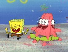 SpongeBob and Patrick from MERMAIDMAN AND BARNACLEBOY production cels 1999