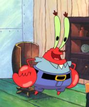 Krabs in his office production cel 1999