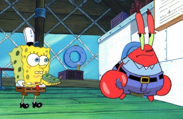 SpongeBob and Krabs Show me the money production cels 1999