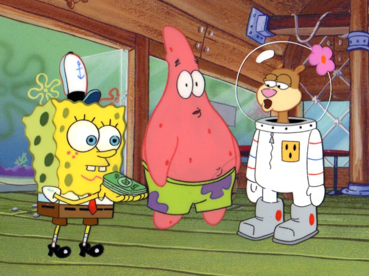 3 Character SpongeBob, Sandy, and Patrick production cels 1999