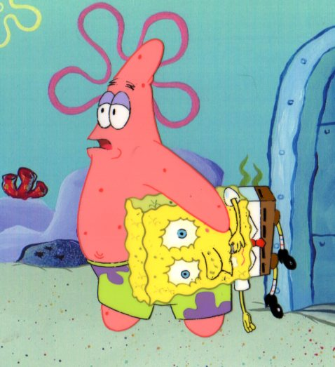 SpongeBob and Patrick from TEA AT THE TREEDOME production cel 1999