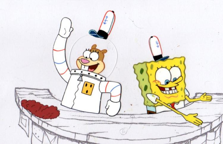 SpongeBob and Sandy from KARATE CHOPERS 1999