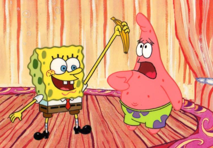 SpongeBob and Patrick production cels 1999