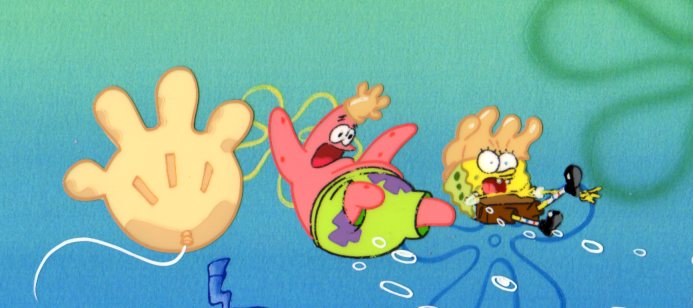 SpongeBob and Patrick from ROCK BOTTOM production cel 1999