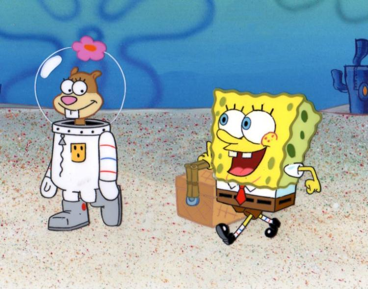 Sandy and SpongeBob from KARATE CHOPPERS production cel 1999