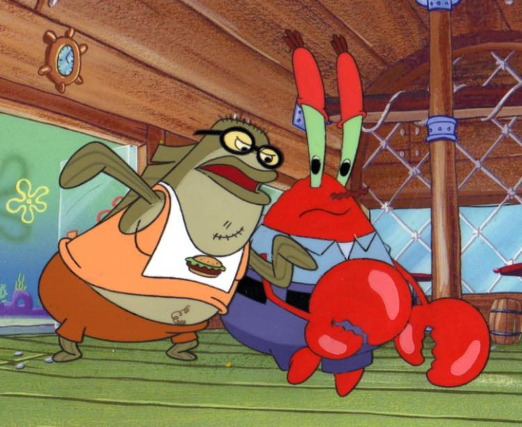 Krabs and Fish customer from PICKLES production cels 1999