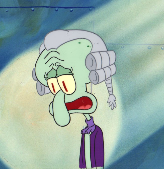 Squidward from SLEEPY TIME production cel 1999