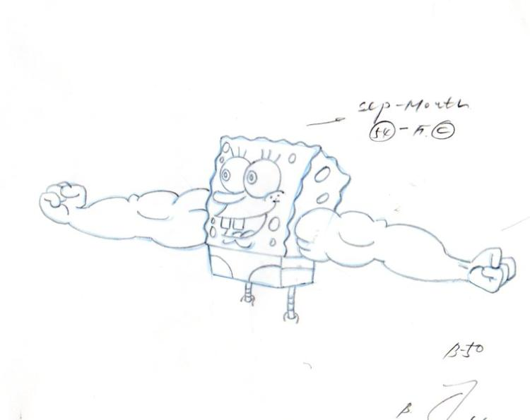 SpongeBob from MUSCLEBOB BUFFPANTS production drawing 1999