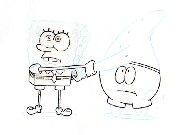 SpongeBob and Patrick from NEPTUNES SPATULA production drawing 1999