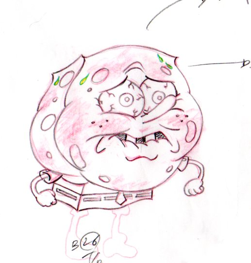 SpongeBob's Hot sauce moment from TEXAS production drawing 1999