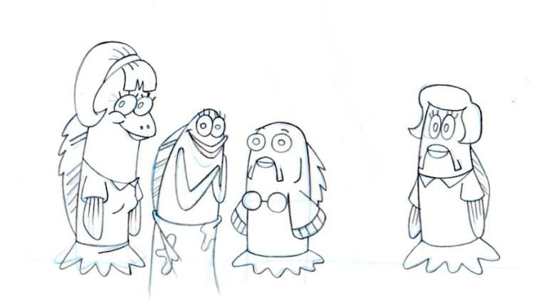 Fish friends from THE CHAPARONE production drawing 1999