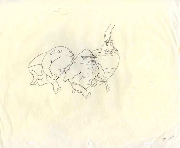 Larry and Friensd from MuscleBob Buffpants production drawing 1999