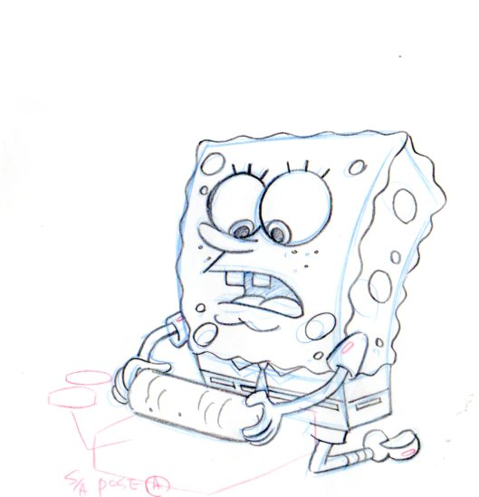 SpongeBob from KARATE CHOPPERS production drawing 1999