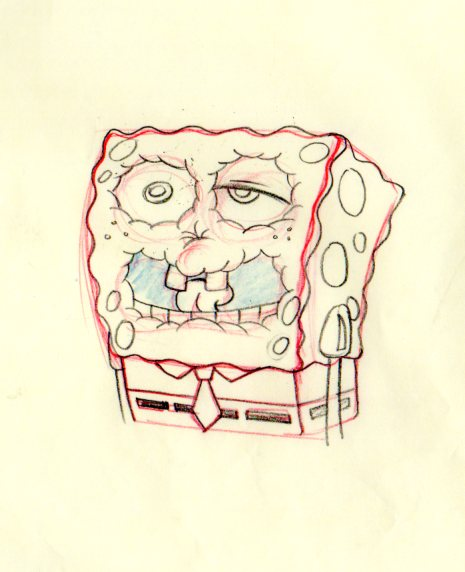 SpongeBob from ROCK BOTTOM production drawing 1999