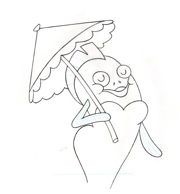 RARE CHARTER: Fish from SANDY'S ROCKET production drawing 1999