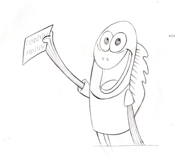 RARE CHARACTER: Fish with news Production drawing 1999