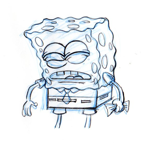 SpongeBob from THE PAPER production drawing 1999