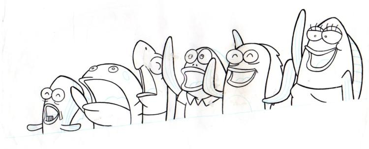 Fish from NEPTUNE'S SPATULA production drawing 1999