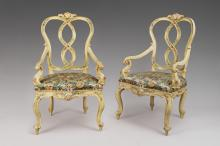 Pair of polychrome-painted wood armchairs