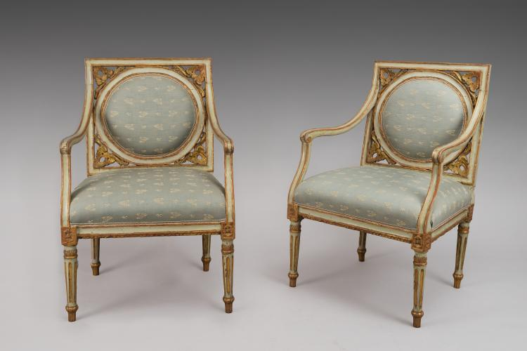 Pair Of Painted And Gilded Neoclassical Chairs