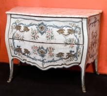 Commode with original lacquered wood, marble top, painted moldings and bronze
