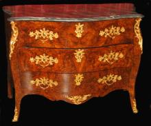 Serpentine bombe form burl walnut commode with marble top