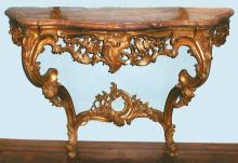 Gilded wood console table (tavolo da muro) with a marble top