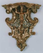 Gilded wood console bracket (wandkonsole); with original gilding