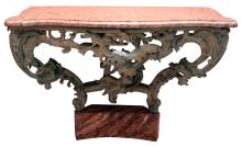 Painted wood with marble top console table (konsoltisch) with dragons and chinoiserie figure
