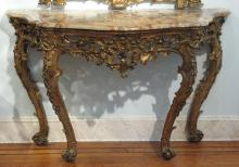 Italian carved and gilded console with marble top