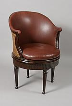 Rare turning Louis XVI desk chair with its original leather upholstery