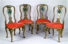Set of four lacquered chairs with noble coat of arms