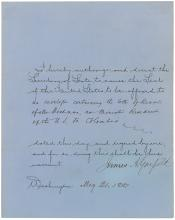 James A. Garfield DS: Rare boldly-signed foreign affairs document as president appointing former Confederate general and battlefield adversary