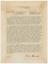 Franklin D. Roosevelt TLS: The only known communication between FDR and Truman as President and VP in private hands, written just weeks before FDR's death
