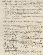 Noah Webster Autograph Manuscript: A rare page from the original draft of Noah Webster's 1828 An American Dictionary of the English Language – the standard reference for American English