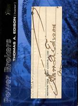 Thomas Edison Cut Signature: 2005 Series 2 Power Brokers Baseball Card
