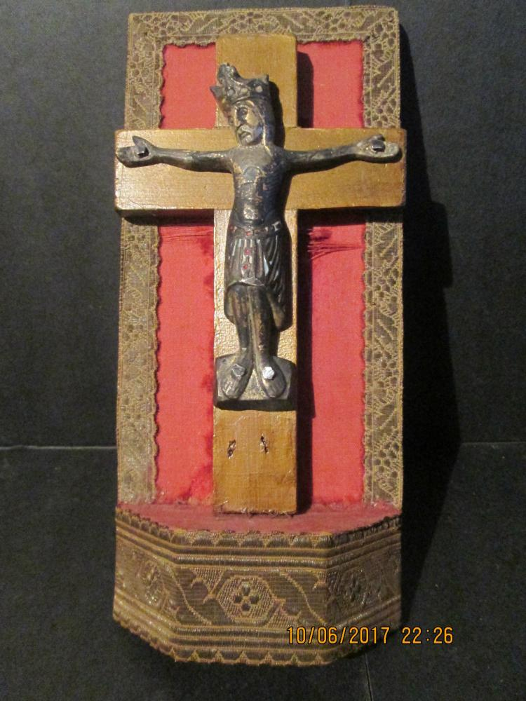 14th Century Crucified Bronze & Enameled Christ