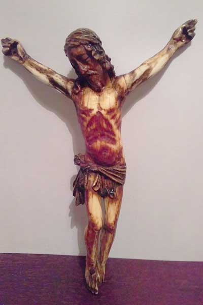 12th Century Crucified Bone Carved & Polychrome Christ Cross
