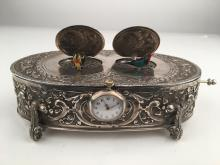 925 Silver mechanical double singing bird box when the knob is pulled both lids