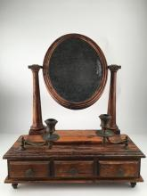 Antique three pull out drawer dresser mirror .