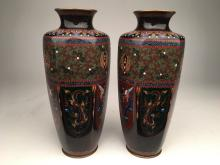 A pair of Japanese six sided cloisonne vases.