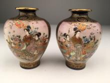A pair of Japanese Satsuma vases.