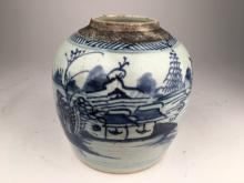 Antique Japanese scenic jar.