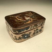 Japanese cloisonne goldstone box decorated with flowers, birds and leaves.<BR>
