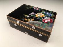 Japanese cloisoine and silver wire box with flowers all around
