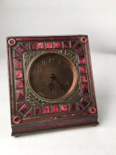 Louis C. Tiffany red enamelled desk clock in the Art Deco pattern.<BR>Properly sta