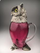 Silver plated Owl heat and feet claret decanter