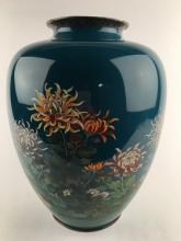 Japanese 1910 silver wire and cloisoine vase<BR>with flowers on a teal ground.<BR>Th