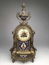 Antique French Japy Freres mantle clock with enamel panels, painted dial with Ro