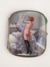 935 silver cigarette case with hand painted nudes.<BR>3 3/4 inches high.